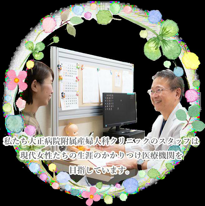 私たち大正病院附属産婦人科クリニックのスタッフは現代女性たちの生涯のかかりつけ医療機関を目指しています。